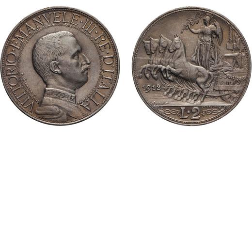 REGNO DITALIA. VITTORIO EMANUELE III. 2 LIRE QUADRIGA VELOCE 1912  Roma. Argento, 9,95 gr, 27 mm, SP