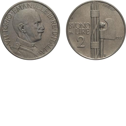 REGNO DITALIA. VITTORIO EMANUELE III. BUONO 2 LIRE 1927 Roma. Nichelio, 9,86 gr, 29 mm. SPL.<br>D: V