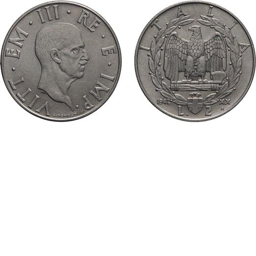 REGNO DITALIA. VITTORIO EMANUELE III. 2 LIRE IMPERO 1942 Roma. Nichelio, 10 gr, 29 mm, SPL+. Molto R