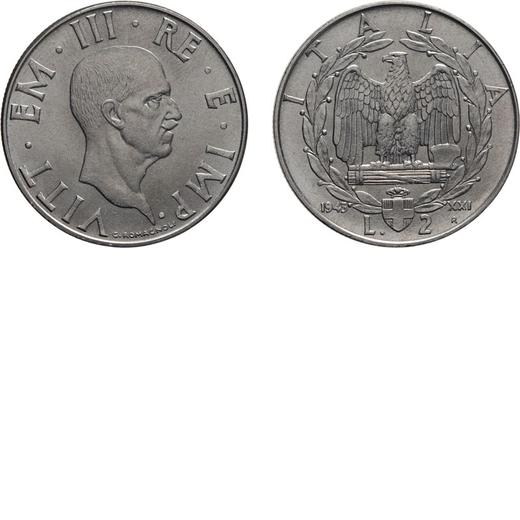 REGNO DITALIA. VITTORIO EMANUELE III. 2 LIRE IMPERO 1943 Roma. Nichelio, 10,05 gr, 29 mm. qFDC. Rara