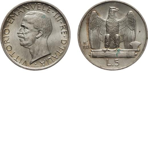 REGNO DITALIA. VITTORIO EMANUELE III. 5 LIRE AQUILA 1926 BORDO LARGO Roma. Argento, 4,98 gr, 23 mm,