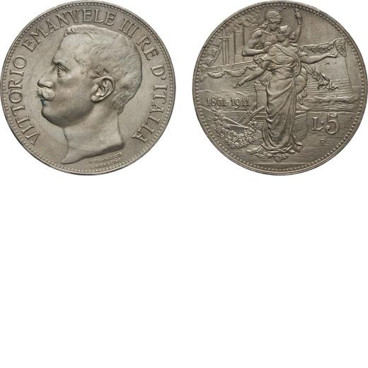 REGNO DITALIA. VITTORIO EMANUELE III. 5 LIRE 1911 Roma. Argento, 24,98 gr, 37 mm, SPL+<br>D: Testa d