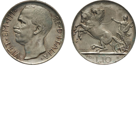 REGNO DITALIA. VITTORIO EMANUELE III. 10 LIRE BIGA 1926 BORDO LARGO AL DIRITTO Roma. Argento, 10 gr,