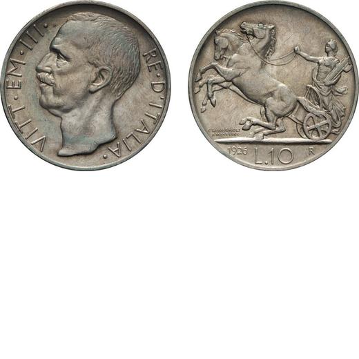 REGNO DITALIA. VITTORIO EMANUELE III. 10 LIRE BIGA 1926 BORDO LARGO Roma. Argento, 9,97 gr, 27mm, SP