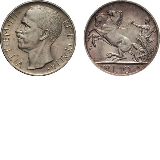 REGNO DITALIA. VITTORIO EMANUELE III. 10 LIRE BIGA 1928 UNA ROSETTA Roma. Argento, 10,04 gr, 27 mm.