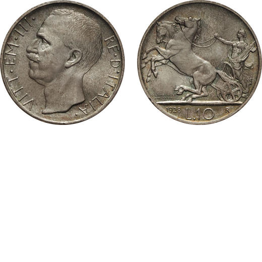 REGNO DITALIA. VITTORIO EMANUELE III. 10 LIRE BIGA 1928 DUE ROSETTE Roma. Argento, 10,03 gr, 27 mm,