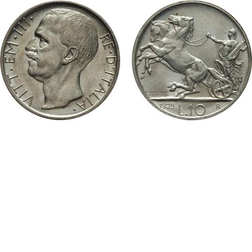 REGNO DITALIA. VITTORIO EMANUELE III. 10 LIRE BIGA 1929 UNA ROSETTA Roma. Argento, 10 gr, 27mm, qFDC