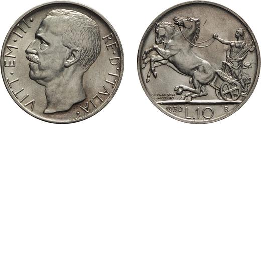 REGNO DITALIA. VITTORIO EMANUELE III. 10 LIRE BIGA 1930 Roma. Argento, 10,04 gr, 27 mm, qFDC.<br>D: