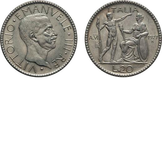 REGNO DITALIA. VITTORIO EMANUELE III. 20 LIRE LITTORE 1927 VI Roma. Argento, 15 gr, 35 mm, qFDC.<br>