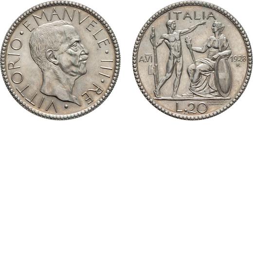 REGNO DITALIA. VITTORIO EMANUELE III. 20 LIRE LITTORE 1928 VI Roma. Argento, 14,98 gr, 35 mm, SPL/FD