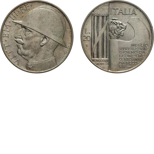 REGNO DITALIA. VITTORIO EMANUELE III. 20 LIRE ELMETTO 1928 Roma. Argento, 20 gr, 35 mm, qFDC.<br>D: