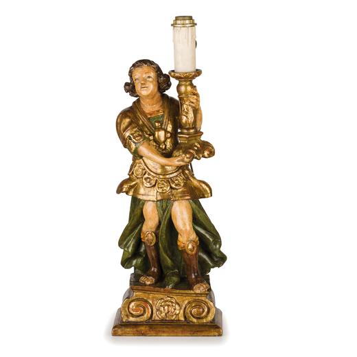 COPPIA DI SCULTURE IN LEGNO INTAGLIATO, LACCATO E DORATO, XVIII SECOLO raffiguranti angeli reggicero