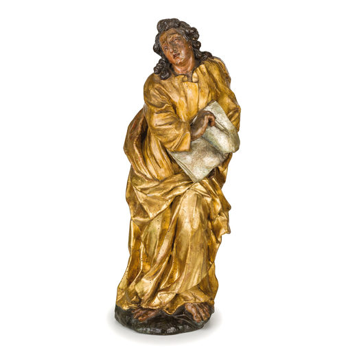 COPPIA DI SCULTURE IN LEGNO INTAGLIATO, LACCATO E DORATO, VENETO, XVII-XVIII SECOLO raffiguranti Eva