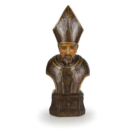 COPPIA DI SCULTURE IN LEGNO LACCATO POLICROMO, XVIII SECOLO raffiguranti busti di cardinali con vano