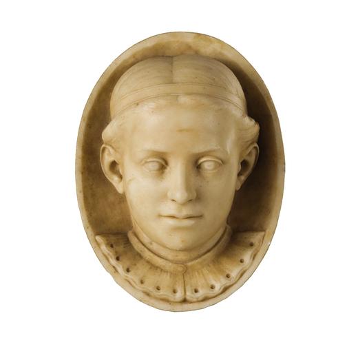 PIO FEDI (Viterbo, 1816 - Firenze, 1892)<br>Scultura in marmo raffigurante testa di fanciulla in pla