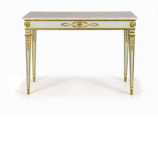CONSOLE IN LEGNO LACCATO E DORATO, XIX SECOLO di gusto neoclassico, piano in marmo bianco, le fasce