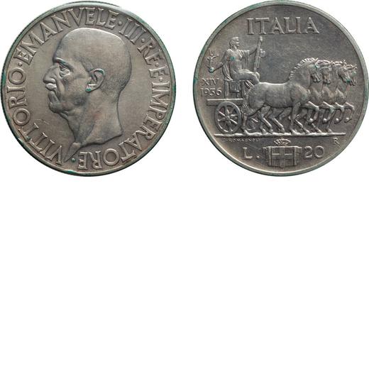 REGNO DITALIA. VITTORIO EMANUELE III. 20 LIRE IMPERO 1936 Roma. Argento, qSPL. Rara. Periziata e sig