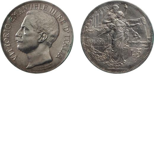 REGNO DITALIA. VITTORIO EMANUELE III. 5 LIRE 1911 Roma. Argento, qFDC. Periziata e sigillata Tevere.