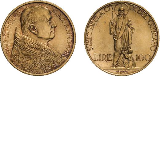 ZECCHE ITALIANE. PIO XI. 100 LIRE 1929 Roma. Oro, 8,82 gr, 23 mm. SPL+/qFDC . Cartellino accompagnat