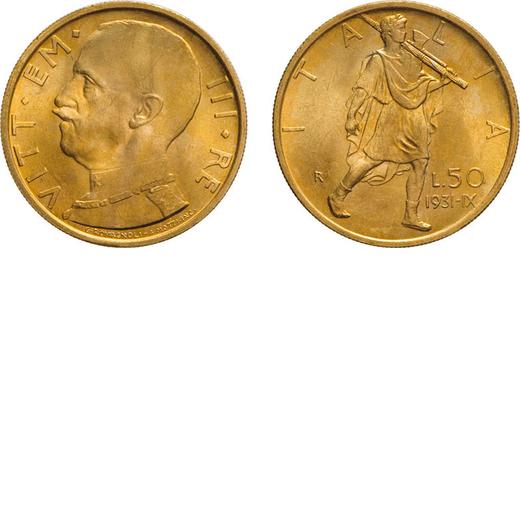 REGNO DITALIA. VITTORIO EMANUELE III. 50 LIRE 1931 ANNO IX Roma. Oro, 4,40 gr, 20 mm. SPL+. Cartelli