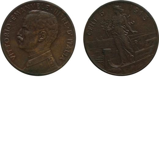 REGNO DITALIA. VITTORIO EMANUELE III. 5 CENTESIMI PRORA 1913  Roma. Rame. SPL/FDC. Molto Rara. Periz