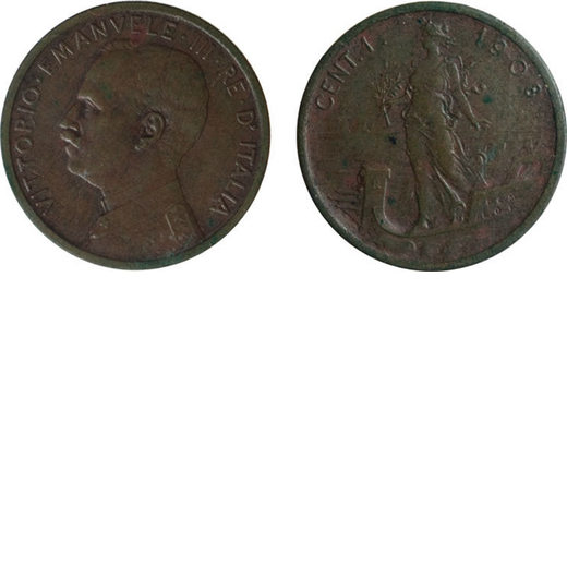 REGNO DITALIA. VITTORIO EMANUELE III. 1 CENTESIMO PRORA 1908 Roma. Rame. SPL/FDC. Molto Rara. Perizi