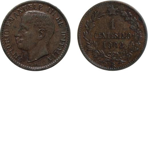 REGNO DITALIA. VITTORIO EMANUELE III. 1 CENTESIMO VALORE 1902 Roma. Rame. SPL/FDC. Rarissima. Perizi