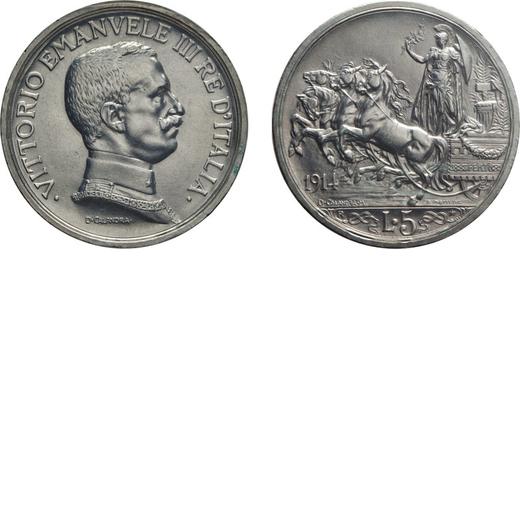 REGNO DITALIA. VITTORIO EMANUELE III. 5 LIRE QUADRIGA BRIOSA 1914 Roma. Argento. qFDC. Periziata e s