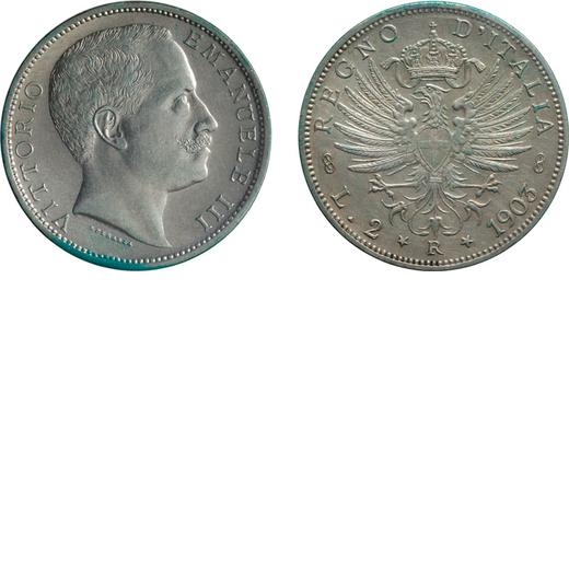 REGNO DITALIA. VITTORIO EMANUELE III. 2 LIRE AQUILA SABAUDA 1903 Roma. Argento. SPL/FDC. Rarissima.