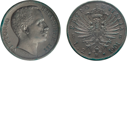 REGNO DITALIA. VITTORIO EMANUELE III. 2 LIRE AQUILA SABAUDA 1901 Roma. Argento. SPL/FDC. Molto rara.