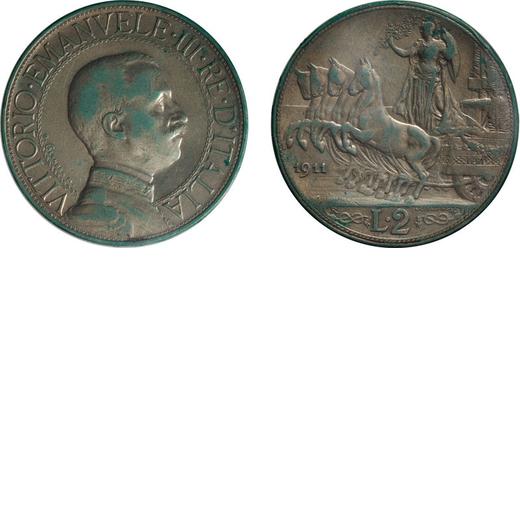 REGNO DITALIA. VITTORIO EMANUELE III. 2 LIRE QUADRIGA VELOCE 1911 Roma. Argento. BB. Molto Rara. Per