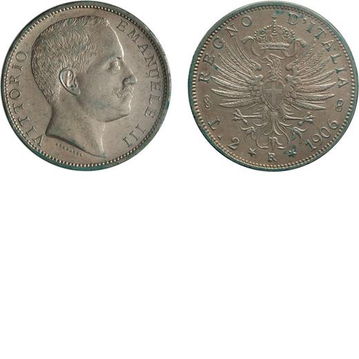 REGNO DITALIA. VITTORIO EMANUELE III. 2 LIRE AQUILA SABAUDA 1906 Roma. Argento. qFDC. Periziata e si