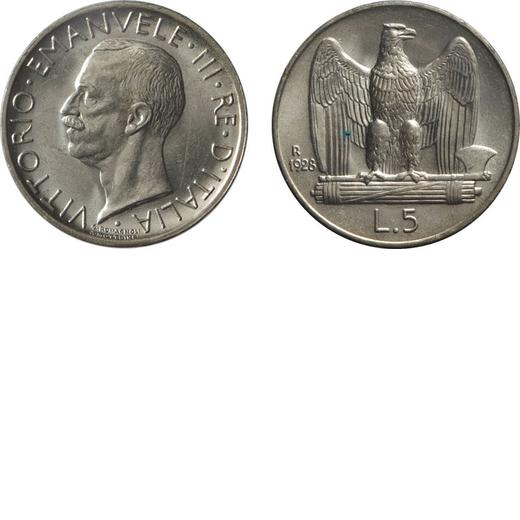 REGNO DITALIA. VITTORIO EMANUELE III. 5 LIRE AQUILA 1928 DUE ROSETTE Roma. Argento. qFDC/FDC. Perizi