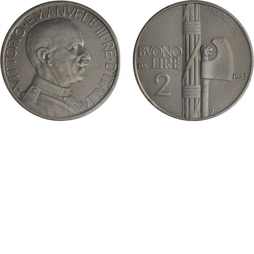 REGNO DITALIA. VITTORIO EMANUELE III. BUONO 2 LIRE 1927 Roma. Nichelio. Periziata e sigillata Tevere