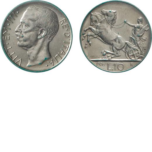 REGNO DITALIA. VITTORIO EMANUELE III. 10 LIRE BIGA 1926 Roma. Argento. SPL+. Molto Rara. Periziata e