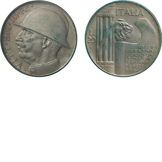 REGNO DITALIA. VITTORIO EMANUELE III. 20 LIRE CAPELLONE 1928 Roma. Argento. Periziata e sigillata Te