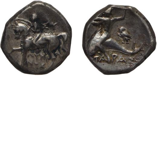 MONETE GRECHE. CALABRIA. TARENTUM. NOMOS Coniato circa nel 272-240 a.C. Argento, 6,52 gr, 16x18 mm,