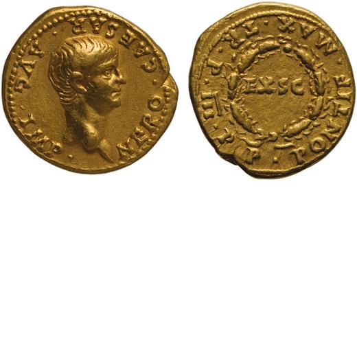 MONETE ROMANE IMPERIALI. NERONE (54-68). AUREO Coniato nel 56-57. Oro, 7,62 gr., 19 mm, BB+. Molto r