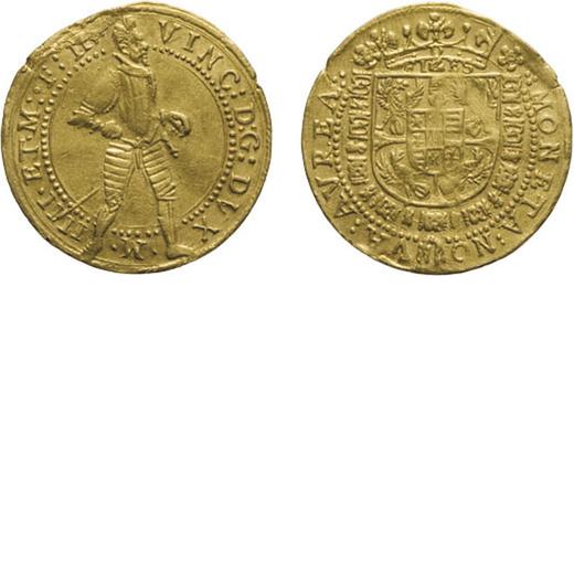 ZECCHE ITALIANE. MANTOVA, VINCENZO I GONZAGA (1587-1612). ONGARO Oro, 3,45 gr, 21 mm, SPL+. Ex Santa