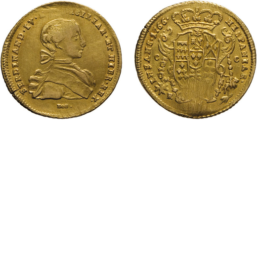 ZECCHE ITALIANE. NAPOLI. FERDINANDO IV DI BORBONE (I PERIODO). 6 DUCATI 1766 Oro, 8,80 gr, 27 mm, gr