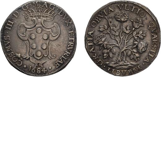 ZECCHE ITALIANE. LIVORNO. COSIMO III DEMEDICI (1670-1723). PEZZA DELLA ROSA 1684 Argento, 25.90 gr,