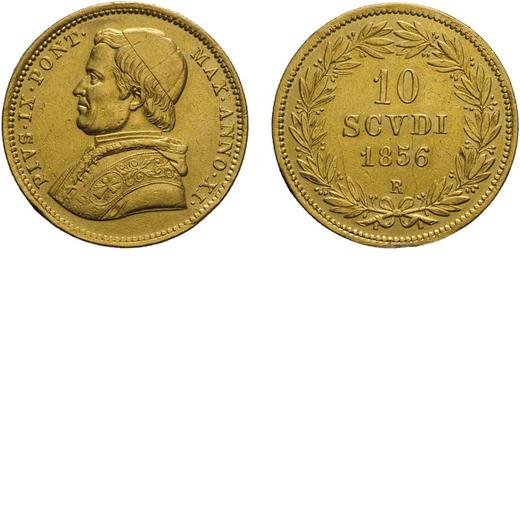 ZECCHE ITALIANE. ROMA, PIO IX (1846-1878). 10 SCUDI 1856, ANNO XI Oro, 17,29 gr, 28 mm, tracce di mo