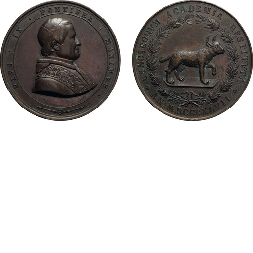 MEDAGLIE E DECORAZIONI PONTIFICIE. ROMA. PIO IX (1846-1878). MEDAGLIA ACCADEMIA LINCEI Bronzo, 60,28
