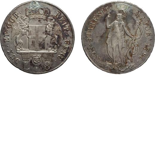 ZECCHE ITALIANE. REPUBBLICA DI GENOVA. DOGI BIENNALI III FASE (1637-1797) 8 LIRE 1796 Argento, 33,45