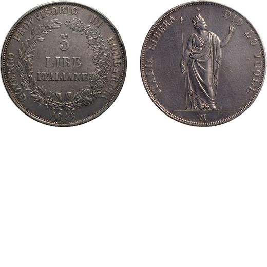 ZECCHE ITALIANE. GOVERNO PROVVISORIO DI LOMBARDIA. 5 LIRE 1848 Milano. Argento. Periziata e sigillat