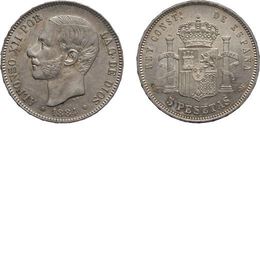 ZECCHE ESTERE. SPAGNA. ALFONSO XII. 5 PESETAS 1884. Argento, 25,08 gr, 37mm. qSPL<br>D: ALFONSO XII