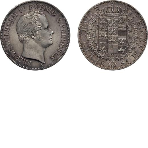 ZECCHE ESTERE. GERMANIA. FEDERICO GUGLIELMO IV. TALLERO 1851 Berlino. Argento, 22,26 gr, 34 mm. SPL<