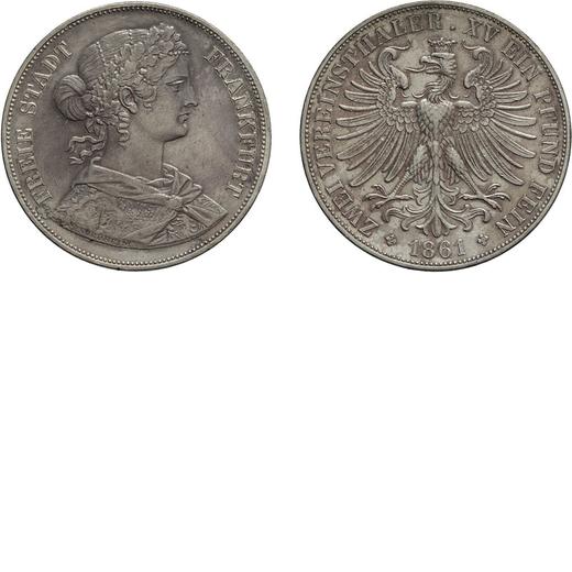 ZECCHE ESTERE. GERMANIA. FRANCOFORTE. 2 TALLERI 1861 Argento, 36,96 gr, 41 mm. SPL+<br>D: FREIE STAD
