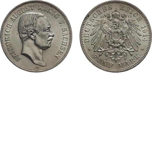ZECCHE ESTERE. GERMANIA. SASSONIA. FEDERICO AUGUSTO III. 5 MARCHI 1914 Argento, 27,87 gr, 38 mm. SPL