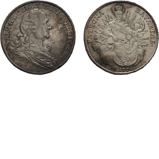 ZECCHE ESTERE. GERMANIA. BAVIERA. KARL THEODOR. TALLERO 1778 Argento, 28 gr, 41 mm. Graffi di aggius